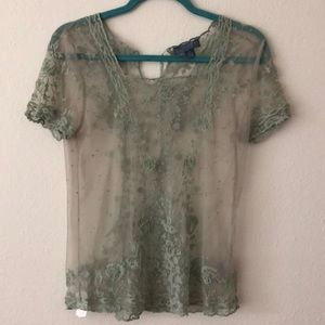 Anthropologie Green Lace Top